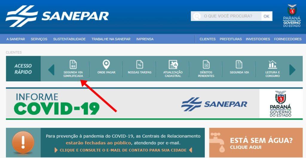 Sanepar 2 via boleto simplificada